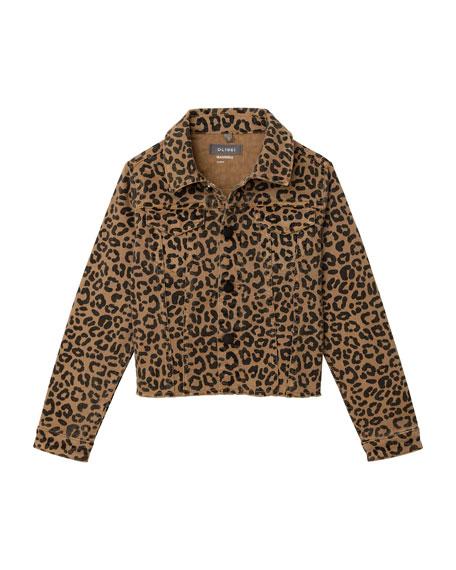DL 1961 Girl's Manning Leopard Print Raw Hem Jacket, Size S-L