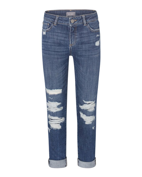 DL 1961 Girl's Harper Distressed Boyfriend Denim Jeans, Size 2-7