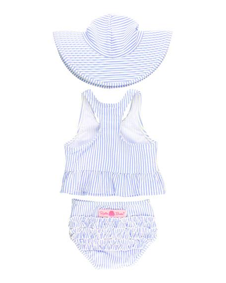 RuffleButts Girl's Seersucker Peplum Tankini w/ Sun Hat, Size 3M-10