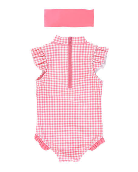 RuffleButts Girl's Gingham One-Piece Swimsuit w/ Headband, Size 3M-10