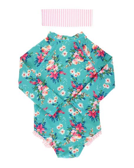 RuffleButts Floral Print One-Piece Rash Guard w/ Headband, Size 2-10