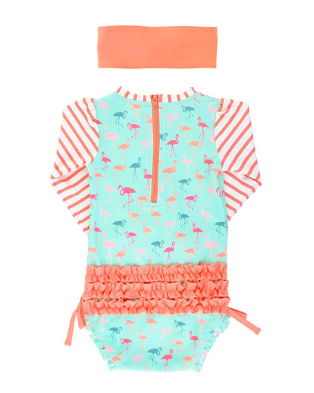 RuffleButts Flamingo Striped One-Piece Swimsuit with Headband, Size 3 Months-3T
