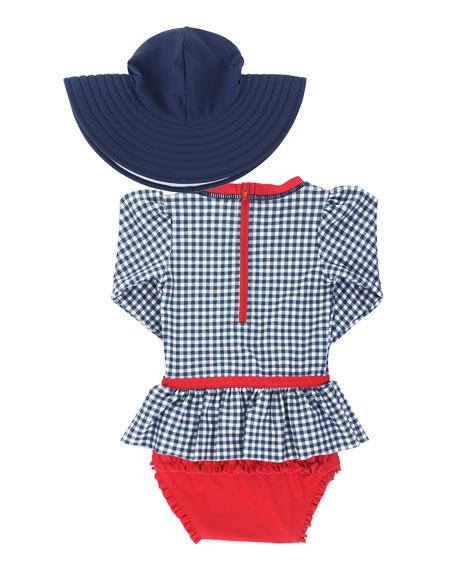 RuffleButts Girl's Gingham Peplum One-Piece Rash Guard w/ Sun Hat, Size 0M-3