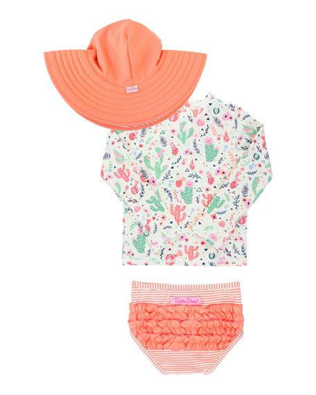 RuffleButts Desert Blossom Rashguard Set with Hat, Size 0 Months-3