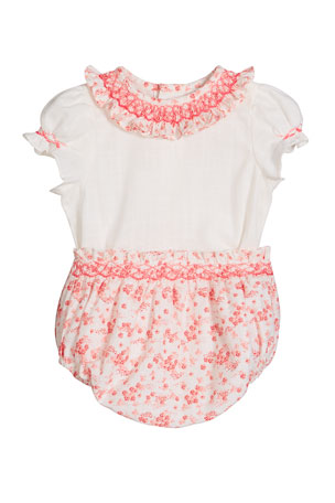 Luli & Me Girl's Coral Floral-Print Smocked Top w/ Bloomers, Size 3-9 Months