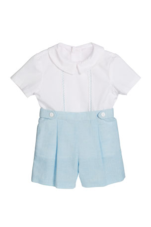 Luli & Me Short-Sleeve Embroidered Top w/ Pleated Linen Shorts, Size 12-24 Months