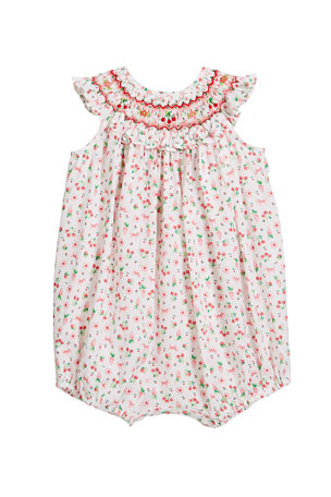 Luli & Me Girl's Cherry Print Smocked Bubble Romper, Size Newborn-9 Months
