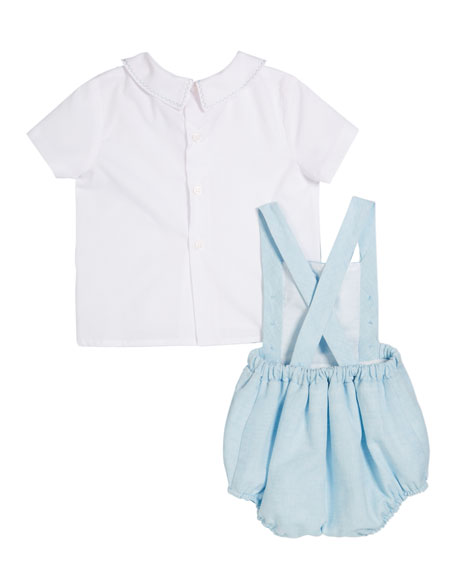 Image 2 of 2: Short-Sleeve Top w/ Linen Romper, Size 3-9 Months