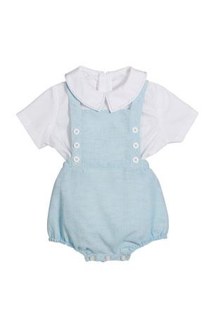 Luli & Me Short-Sleeve Top w/ Linen Romper, Size 3-9 Months