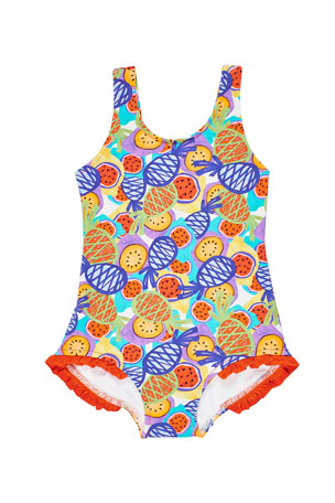 Florence Eiseman Girl's Multicolor Tropical-Print One-Piece Tank Swimsuit, Size 2-6X