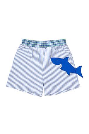 Florence Eiseman Boy's Striped Seersucker Swim Trunks w/ Shark, Size 6-24 Months