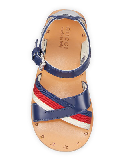 Gucci Red Web Stripe Crisscross Sandals, Toddler