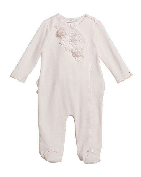 Miniclasix Girl's Floral Trim Footed Coverall, Size 3-9 Months