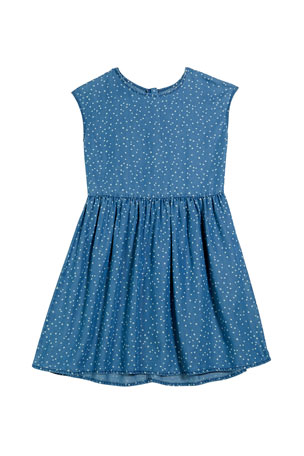 Splendid Girl's Chambray Dot Print Dress, Size 7-14