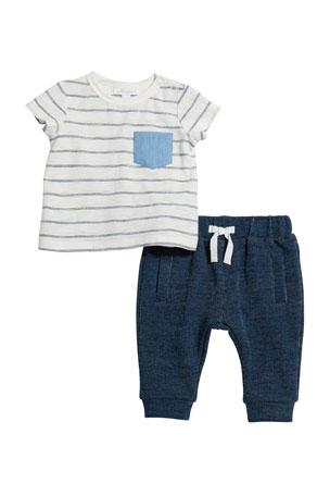 Miniclasix Stripe Pocket Tee w/ Drawstring Pants, Size 3-24 Months