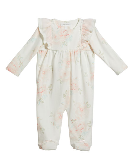 Miniclasix Floral Print Footed Coverall, Size 3-9 Months