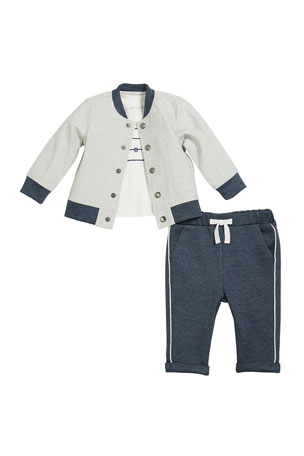 Miniclasix Stripe Cool Top w/ Baseball Jacket & Sweatpants, Size 3-24 Months