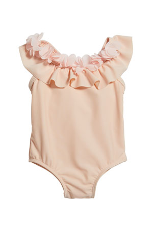 Miniclasix Girl's Ruffle Rosette One-Piece Swimsuit, Size 3-24 Months