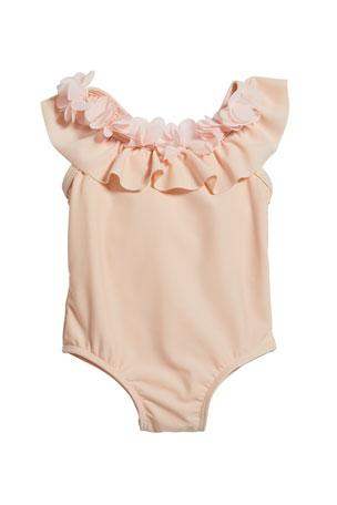 Miniclasix Girl's Ruffle Rosette One-Piece Swimsuit, Size 3-24 Months