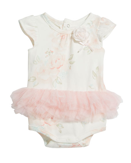 Miniclasix Floral Print Tulle Skirted Bodysuit, Size 3-9 Months