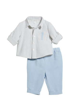 Miniclasix Stripe Button-Down Shirt w/ Matching Pants, Size 3-24 Months