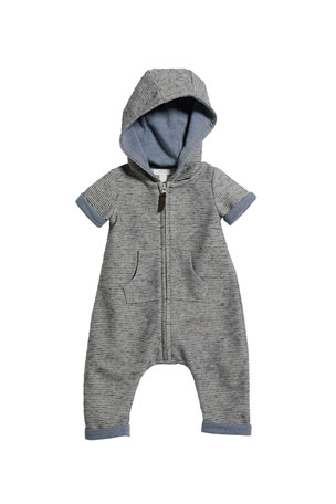 Miniclasix Texture Striped Hooded Playsuit, Size 3-24 Months