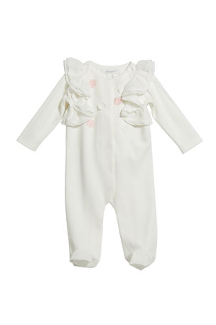 Miniclasix Girl's Floral Ruffle Footed Coverall, Size 3-9 Months