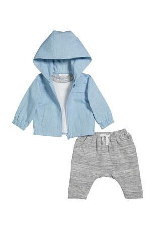 Miniclasix Boy's Hooded Jacket w/ Short-Sleeve Top & Heathered Joggers, Size 3-24 Months