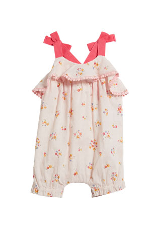 Miniclasix Girl's Floral Print Ruffle Romper, Size 3-24 Months