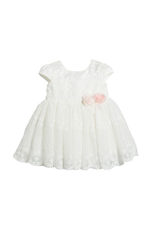 Miniclasix Short-Sleeve Lace Dress, Size 3-24 Months