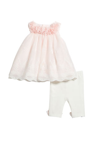 Miniclasix Lace Rosette Top w/ Matching Leggings, Size 3-24 Months