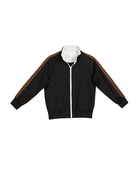 Fendi Boy's Zip-Front Track Jacket w/ FF Logo Tape, Size 8-14