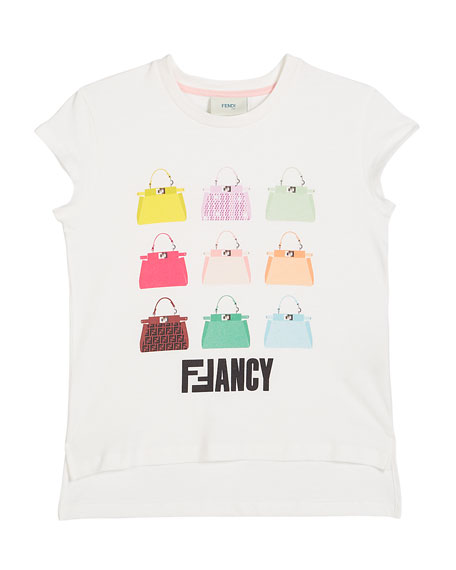 Fendi Girl's FFancy Handbag Illustration Tee, Size 4-6