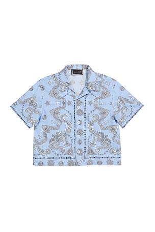 Versace Boy's Logo Print Cabana Shirt, Size 8-14
