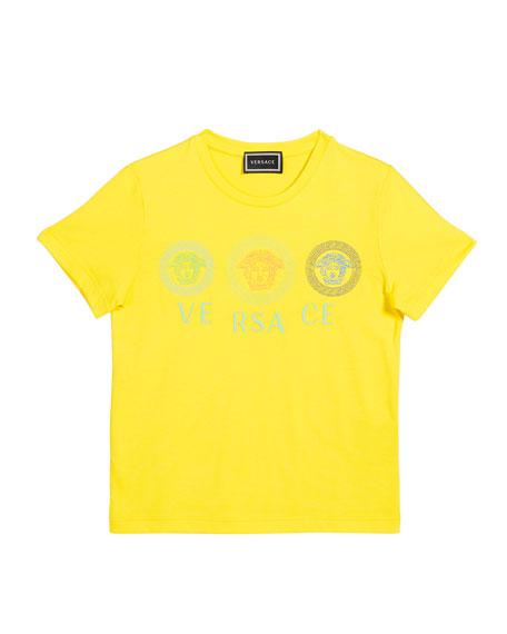 Versace Boy's Medusa Medallions Logo Tee, Size 4-6