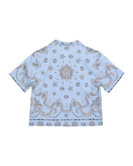 Versace Boy's Logo Print Cabana Shirt, Size 4-6