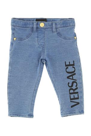 Versace Boy's Denim Jeans with Logo Leg, Size 12-36 Months