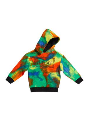 Versace Tie-Dye Print Logo Hoodie, Size 4-6