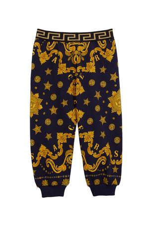 Versace Boy's Barocco Western-Print Sweatpants, Size 12-36 Months