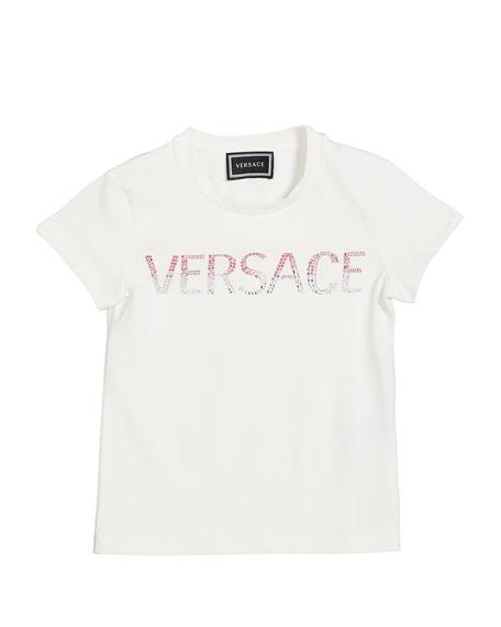 Versace Girl's Ombre Logo Short-Sleeve Tee, Size 4-6