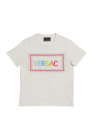 Versace Girl's Rainbow Letters Block Logo Tee, Size 8-14