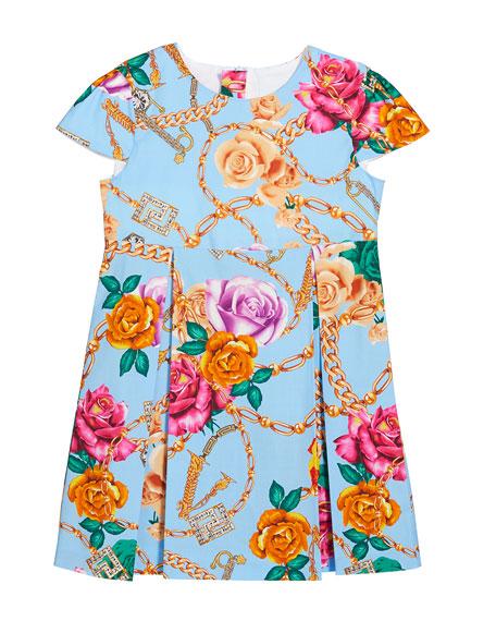 Versace Girl's Floral Print Cap Sleeve Dress, Size 12-36 Months