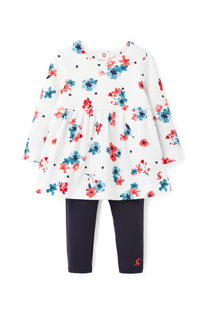 Joules Girl's Christina Floral Long-Sleeve Dress w/ Solid Leggings, Size 3-24 Months