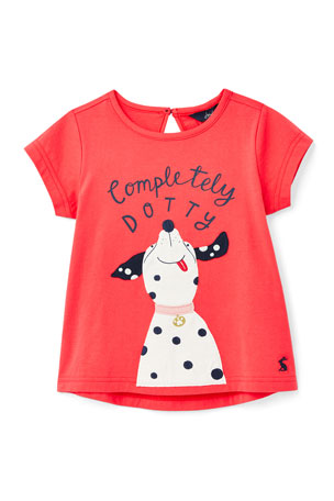 Joules Girl's Maggie Completely Dotty Graphic T-Shirt, Size 2-6