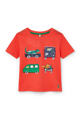 Joules Boy's Chomp Driving Dinosaurs T-Shirt, Size 3-6