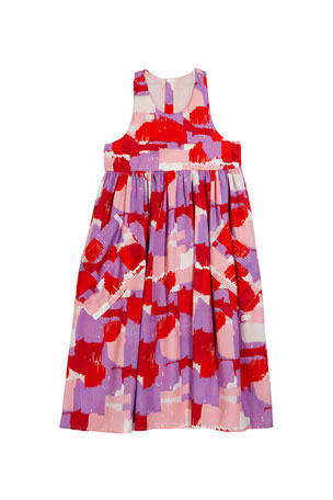 Stella McCartney Kids Girl's Brush Stroke Print Sleeveless Dress, Size 4-14
