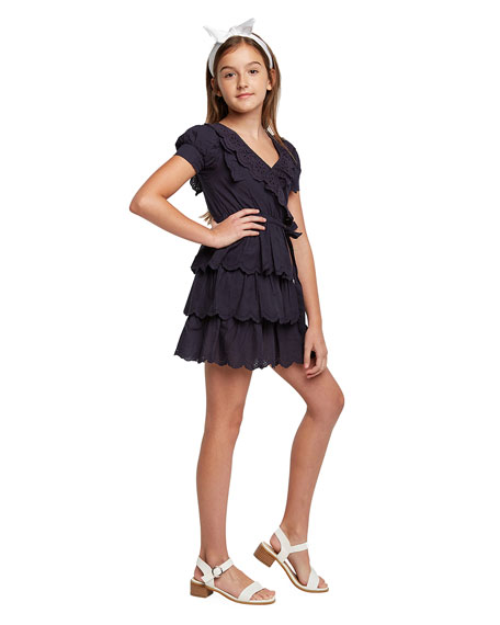Bardot Junior Girl's Cindy Broderie Mock Wrap Dress, Size 7-16