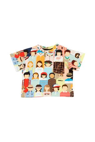 Fendi Boy's Allover People Print Tee w/ FF Logo Pocket, Size 12-24 Months