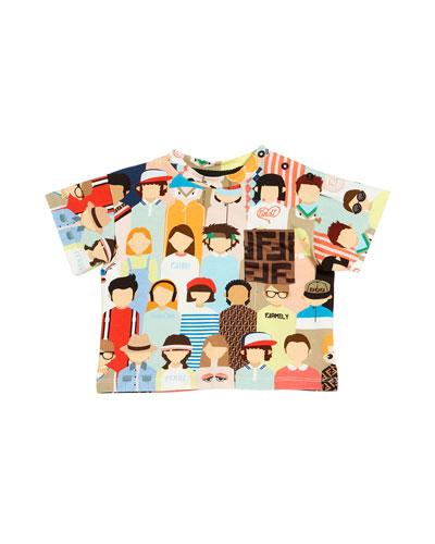 Boy's Allover People Print Tee w/ FF Logo Pocket  Size 12-24 Months