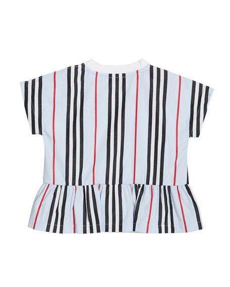 Burberry Girl's Mini Delilah Icon Stripe Back Jersey Top, Size 6M-2